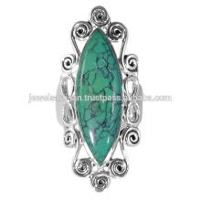 Bague en argent sterling de pierres précieuses de turquoise tibétaine de conception plus récent 925