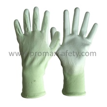 Green Polyester Knitted Shell White PU Palm Coated Work Gloves