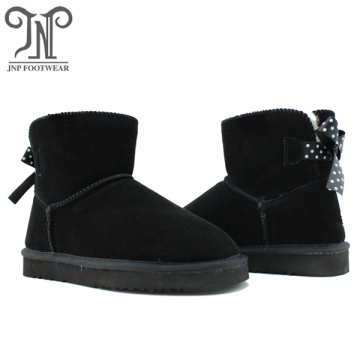 Comfy Winter Leather Ankle Bowknot Snow Sheepskin Boots