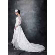 Una línea cuello escote satinado sobre la red con bordado nupcial vestido de encaje con cristal 3/4 vestido de boda de manga AS29402