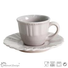 Tasse à thé et soucoupe gris antique