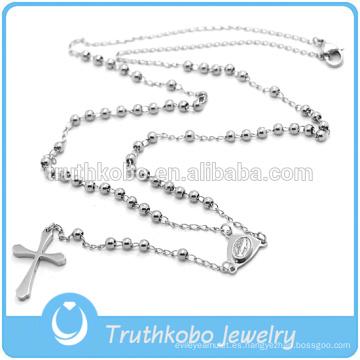 Preofesional diseño personalizado collar católico rosario religioso de acero inoxidable y cruz CRUCIFIX collar con buena calidad