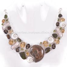 O mais recente Design Ammonite And Multi Gemstone 925 Sterling Silver Necklace