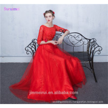 Long Prom Dresses with Sleeves O Neck A Line Floor Length High Quality Tulle Applique Corset Orange Red Prom Gown
