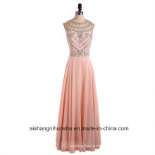 Imagem Real Beleza Colher Pescoço Cristais Chiffon Long Prom Dresses