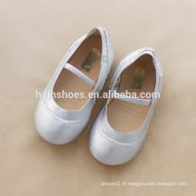 Prix à bas prix enfants chaussures fille chaussure élastique ballerine chaussure en argent