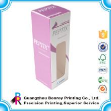 Papel de arte que imprime la pequeña caja cosmética de encargo con la ventana del PVC