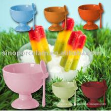 Taza de helado de cerámica de color glaseado