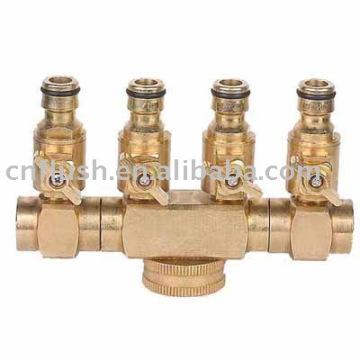 4 voies séparateur de tuyau avec valve