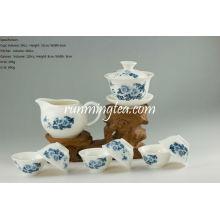 Blue Peony Oolong Teaware Set-1 Gaiwan, um jarro e 6 copos