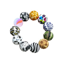 Leopard Pattern Round Shape Pacifier Clip Teeth Print Black Double Hole Printed 12mm 15mm 19mm Silicone Bead Kit