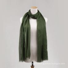 Green Viscose Long Scarf for Women