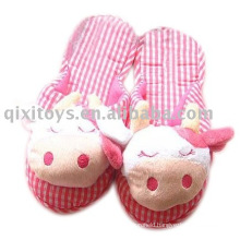 plush&stuffed cartoon cow slipper, cute girl's indoor shoes