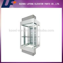 Смотровый лифт с отделкой из безопасного стекла, Линейный смотровой лифт из нержавеющей стали Hairline