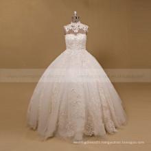 Brilliant Beaded Rhinestones Lace Customize Puff Ball Wedding Gown High Collar