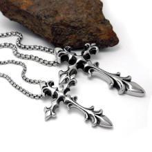 Bijoux de mode croix collier pendentif en acier inoxydable hommes et femmes