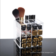 16-Section Lip Gloss Cosmetic Makeup Display Lipstick Acrylic Storage Box Brush Holder