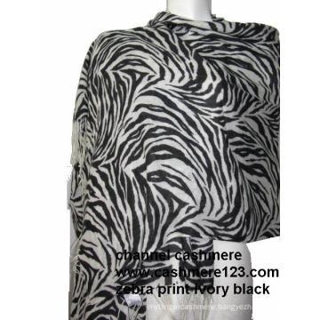 Zebra Print Cashmere Shawl