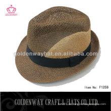 2015 neuester Art Stroh Fedora Hut mit nach Maß Entwurfslogo