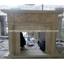 Natural pedra mármore lareira esculpida coluna (SY-MF221)