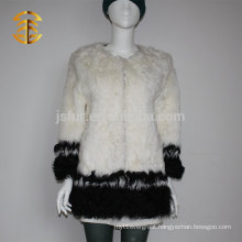 Whosale Elegant Lady Black and White Genuine Curly Fur Sheepskin Coat Women
