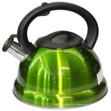 Verde, assobiando, água, chaleira, duplo, fundo, plástico, punho