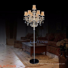 Beautiful Standing Chandelier Floor Lamp Golden Teak Crystal 20071