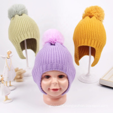 Hot Selling Cute Knitted Fur Pompom Baby Winter Hat Kids Thick Beanie Cap Toddler Boys And Girls Ear Warm Hats