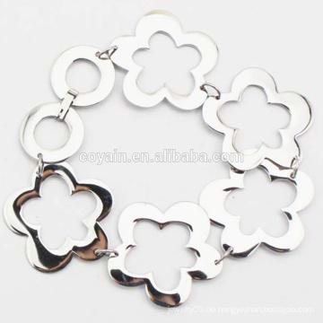 Shiny Silver Flower Link Kette Edelstahl Armband