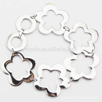 Shiny Silver Flower Link Chain Stainless Steel Bracelet