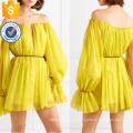 Nova moda manga longa off-a-ombro chiffon mini vestido de verão manufatura grosso moda feminina vestuário (t0292d)