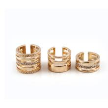Anel de ouro ampla combinação bijutarias de piscamento