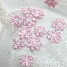 Multicolor transparent small pink bicolour flower knitted 3D mesh embroidery lace fabric