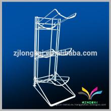 Adjustable blanco de 3 niveles de estilo de piso alambre de metal móvil estante de visualización para botella de agua