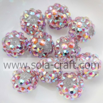 Jewelry Solid Pink Multicolor 10*12MM Resin Rhinestone Ball Beads Ornaments