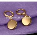 Simple elegante forma redonda pendiente pendientes de acero inoxidable para las mujeres ZZE020