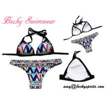 Lady′s Swimsuit Two-Piece Swimwear Bikini Beachwear with Removable Padding