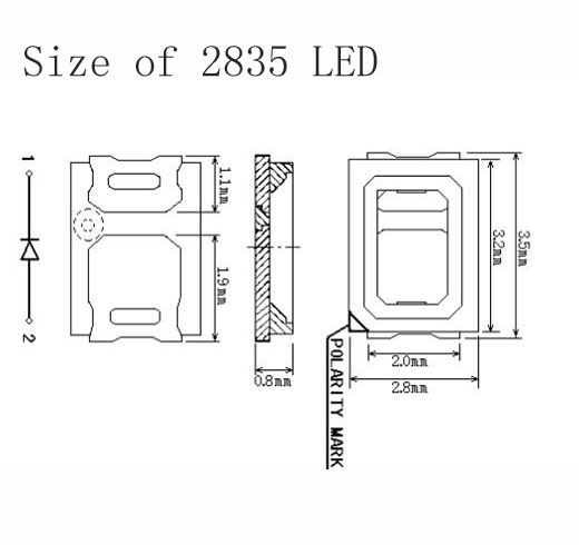 2835 Blue LED size