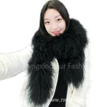 Women High Quality Mongolian Lamb Fur Scarf