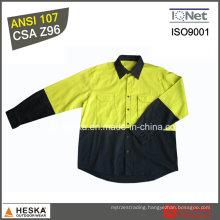 Long Sleeve Work Shirt 100% Cotton Hi Viz Shirt with CSA Z96 Standard