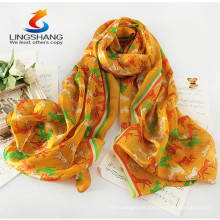 Lingshang PM1032 wholesale soft fashion gift unicorn horse print animal chiffon digital printing scarf shawl
