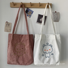 Autumn and winter new style embroidered corduroy bag cute cartoon embroidered bear corduroy shoulder bag