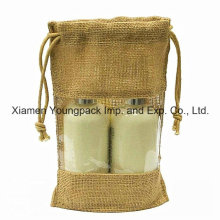Bolsa de cordón de yute personalizado con ventana de plástico PVC