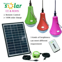 Portable Remote Control Solar Light For Home Lighting with LED bulbs