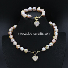 Baroque Pearl Jewelry Sets with Necklace and Bracelet