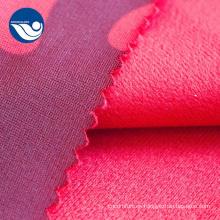Tela de terciopelo de pincel de vellón coralino impreso para tapicería