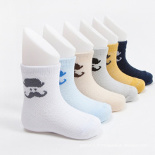 Vente chaude garçons équipage coton chaussettes avec des dessins de Moustache
