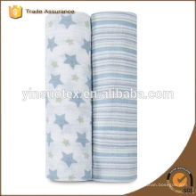 100% organic cotton star design factory price muslin for girl and boy
