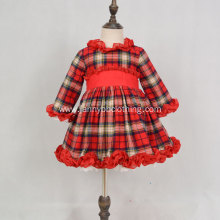 High quality check flannel fabric winter girls dress