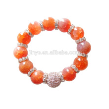 12 MM Big Fashion Bling Strass Orange Achat Edelstein Perlen Armband Für Party